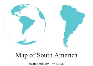 High Detailed Blue Globes and Map of South America isolated on white background. editable vector illustration.