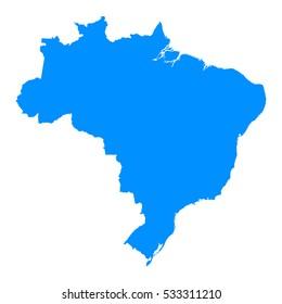 High detailed blue map, Brazil .Vector illustration eps 10.