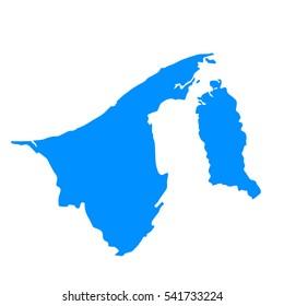 High detailed blue map of Brunei. Vector illustration eps 10.