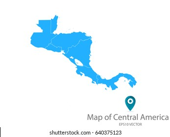High detailed - blue map of Central America on white background. Vector illustration eps 10.