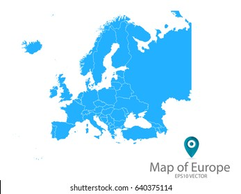 High detailed - blue map of Europe on white background. Vector illustration eps 10.