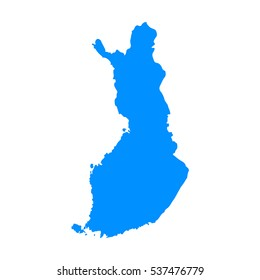 High detailed blue Map of Finland. Vector illustration eps 10.
