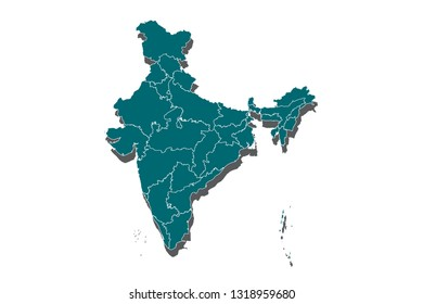 High Detailed Blue Map of India isolated on white background, Map of India - Blue Geometric Rumpled Triangular , Polygonal Design For Your . Vector illustration eps 10. - Vector