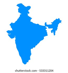 High detailed blue map, India. vector illustration eps 10.