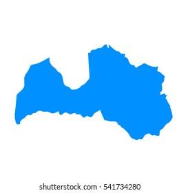 High detailed blue map of Latvia. Vector illustration eps 10.