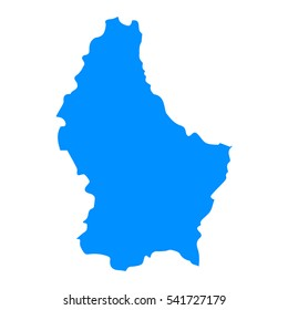 High detailed blue map of Luxembourg. Vector illustration eps 10.