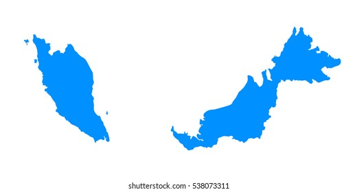 High detailed blue map of Malaysia. Vector illustration eps 10.