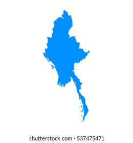 High detailed blue map of Myanmar. Vector illustration eps 10.