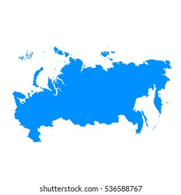 High detailed blue map of Russia. Vector illustration eps 10.
