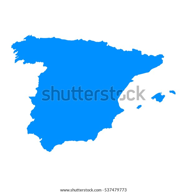 Map Of Spain Vector Free.High Detailed Blue Map Spain Vector Stock Vector Royalty Free