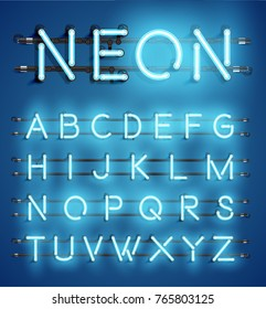 High detailed blue neon character set for advertising, vector illustration
