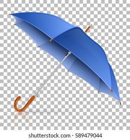 High Detailed Blue Umbrella on transparent background. Isolated vector illustration
