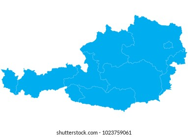 High detailed blue vector map – Departments of Austria map