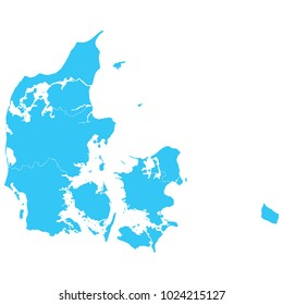 High detailed blue vector map – Departments of Denmark map