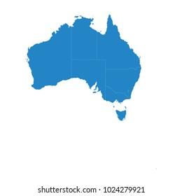 High detailed blue vector map – Australia map.