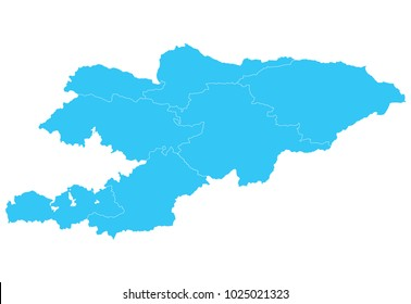 High detailed blue vector map – Departments of Kyrgyzstan map