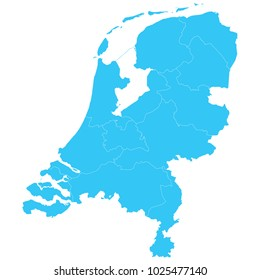 High detailed blue vector map – Departments of Netherlands map