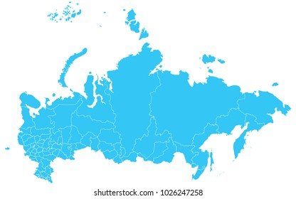 High detailed blue vector map – Departments of Russia map