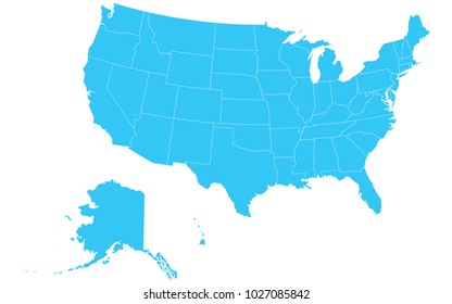 High detailed blue vector map – Departments of United States map