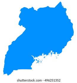 High detailed blue vector map - Uganda