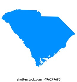 High detailed blue vector map - South Carolina
