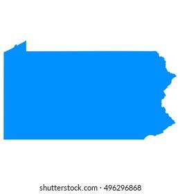 High detailed blue vector map - Pennsylvania