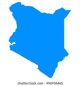 High detailed blue vector map - Kenya