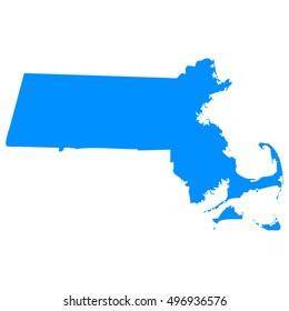 High detailed blue vector map - Massachusetts