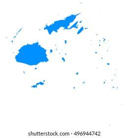 High detailed blue vector map - Fiji