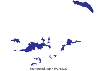 High detailed blue vector map – British Virgin Islands map