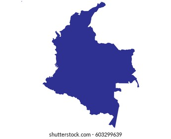 High detailed blue vector map – Colombia map