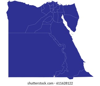High detailed blue vector map – Egypt map