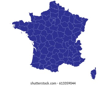 Hochdetaillierte blaue Vektorkarte - Departements France-Karte