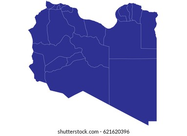 High detailed blue vector map – Libya map
