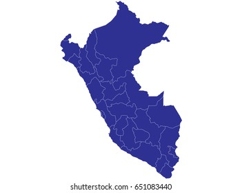 High detailed blue vector map – Peru map