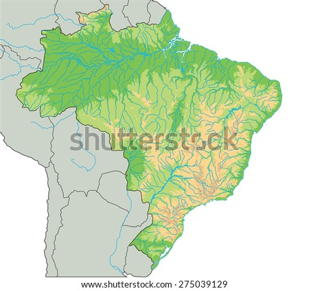 High Detailed Brazil Physical Map With Stock Vector Royalty Free