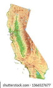 High detailed California physical map with labeling.