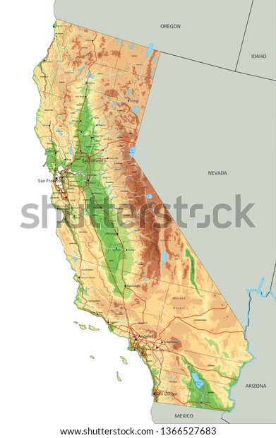 High Detailed California Physical Map Labeling Stock Vector (Royalty ...