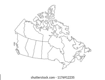 High detailed Canada Map. Vector illustration