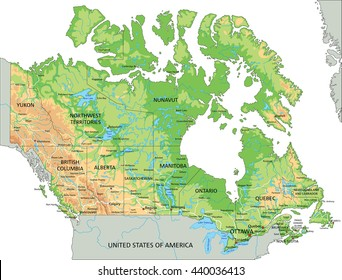High detailed Canada physical map with labeling.