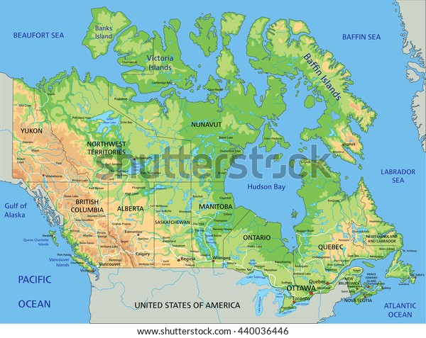 Labeled Physical Map Of Canada High Detailed Canada Physical Map Labeling Stock Vector (Royalty