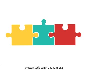 High Detailed Colorful jigsaw on white background. Vector illustration eps 10.