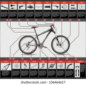 High detailed, completed scheme of hardtail MTB, each object has layer, EPS 10, contains transparency