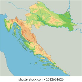 Detailed Croatia Physical Map Stock Vector 1012661596 Shutterstock