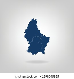 High Detailed Dark Blue Map With Shadow of Luxembourg on White Gray isolated background, Vector Illustration EPS 10