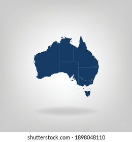 High Detailed Dark Blue Map With Shadow of Australia on White Gray isolated background, Vector Illustration EPS 10