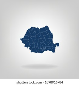 High Detailed Dark Blue Map With Shadow of Romania on White Gray isolated background, Vector Illustration EPS 10