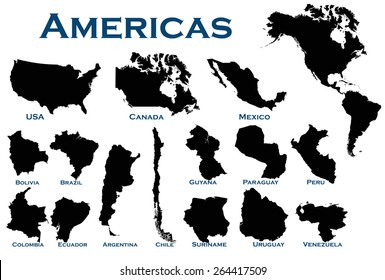 High detailed editable illustration of all North and South American countries.