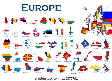 High detailed, editable maps and flags on white background of all European countries.