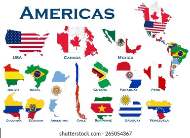 High detailed, editable maps and flags on white background of all North and South American countries.
